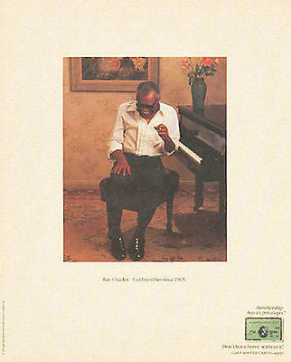 Ray Charles at Piano 1987 American Express Photo Illustration Finance Ad