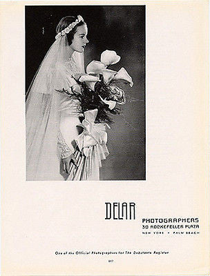 BRIDE Calla Lillies 1949 AD Delar NYC Debutante Register Photographers - Paperink Graphics