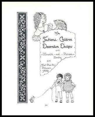 Children Fashions Meredith and Patricia Hanley Delaware 1926 Artist Promo Ad - Paperink Graphics