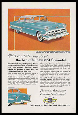 Chevrolet Bel Air 4 Door Sedan 1954 Photo Ad Power Steering Windows Chrome