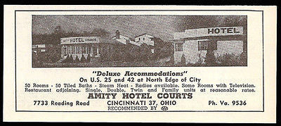 Amity Hotel Courts Ad Cincinnati Ohio Private Bath 1954 Roadside Photo Ad Travel - Paperink Graphics