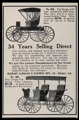 Buggies Surrey Buggy Canopy Elkhart Carriage Harness Manufacturing 1907 Ad