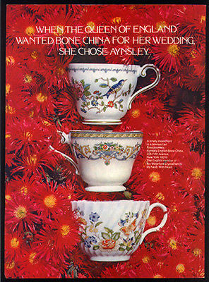 Aynsley English Bone China 1978 Photo Ad Waterford Queen's Wedding Choice