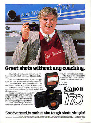 John Madden Football Coach NFL Oakland Raiders 1986 Canon T70 Camera Ad