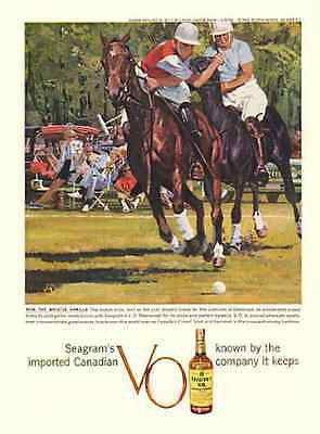 Polo Match Oak Brook Club 1959 AD Seagrams Whiskey Action Print Ad