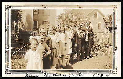 1934 Antique Photo Snapshot Children Birthday Party Summer Day Boys Girls Photography - Paperink Graphics