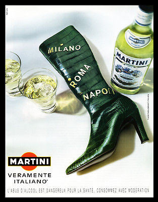 Martini & Rossi Vermouth AD 2001 Italy Map Art Black Boot French Text Distillery
