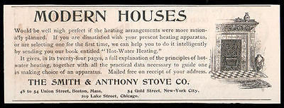 Stove Heating Mantel Interior Design Smith & Anthony Stove Co. Boston NY1893 AD