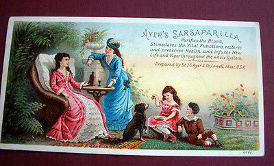 Ayers Sarsaparilla Quack Medicine Advertising Trade Card J.C. Ayer Lowell MA - Paperink Graphics