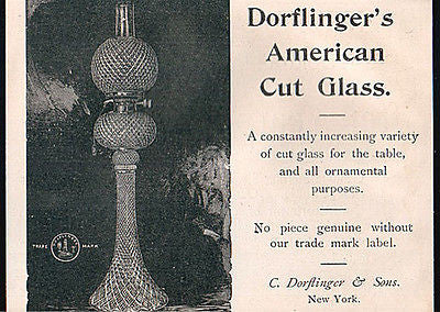 Dorflinger's American Cut Glass Oil Lamp 1894 Print AD - Paperink Graphics