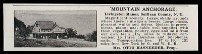 Livingston Manor 1915 Sull Co Mountain Anchorage NY 3 Churches Phones AD - Paperink Graphics