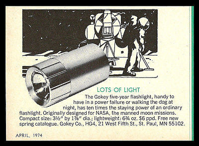 Gokey Flashlight AD 1974 Designed for NASA for Manned Moon Program 5 Year Power