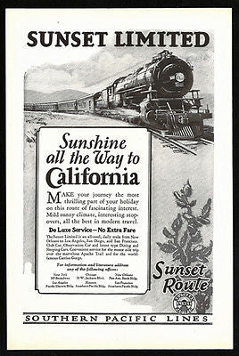 Desert Cactus Ad 1926 Sunset Route  Engine 5000 Southern Pacific Lines - Paperink Graphics