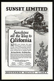 Desert Cactus Ad 1926 Sunset Route  Engine 5000 Southern Pacific Lines