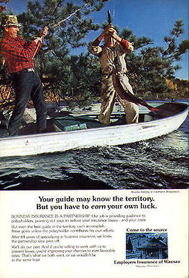 Fishing Wausau Insurance Industry Ad 1970s Musky Fishing North Wisconsin