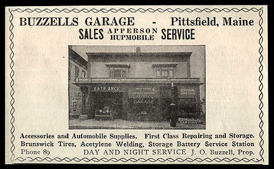 Buzzells Garage AD 1922 Automotive Pittsfield Maine Apperson Hupmobile Photo