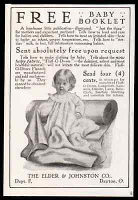 1908 Antique Baby AD Elder & Johnson Fluff-O-Down Baby Flannel Advertisement - Paperink Graphics