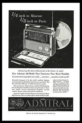 Admiral Radio AD 1959 Nine Transistor Nine Band All World Model 909 Advertising