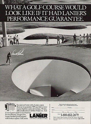 Arnold Palmer Golfing Course Lanier Copier Ad 1989 - Paperink Graphics