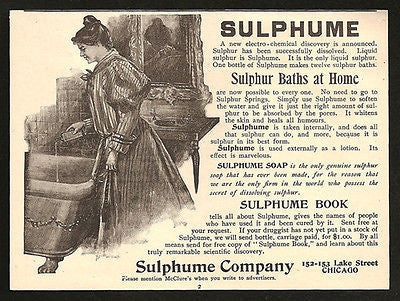 Sulphur Baths at Home Lady Draws Sulphume 1896 Print AD