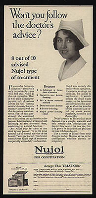 Nurse 1927 Photo Illustration Nursing AD Nujol Laxative Treatment Advertising
