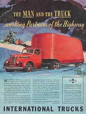 HUGE RED Trailer Truck International 1939 Print AD - Paperink Graphics