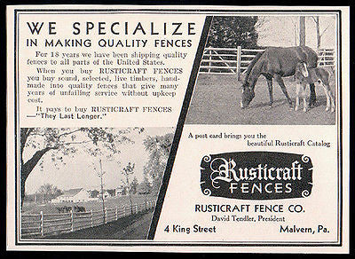 Fences Farm Horses Fencing 1934 Antique Ad Rustcraft Fence Company Malvern PA