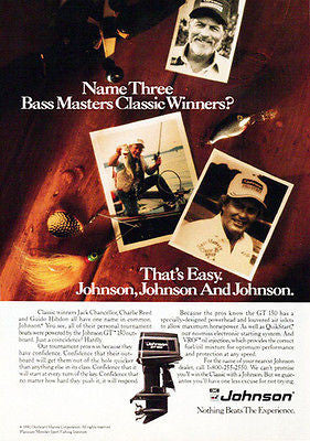 Bass Masters 1990 Mens Sports Boating Ad Johnson Outboard Motor - Paperink Graphics