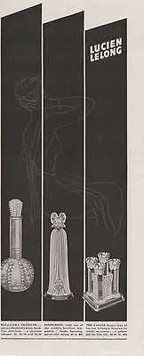 Dramatic Deco Lucien Long Perfume Bottle 1941 Illus AD - Paperink Graphics