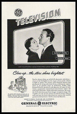 David Niven Loretta Young Stars 1948 GE Television Photo Ad - Paperink Graphics