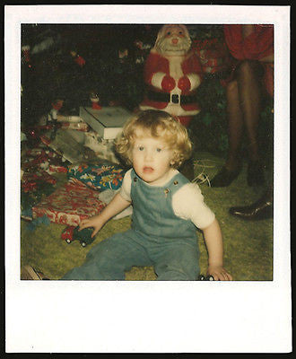 Christmas Morning Polaroid Photo Plastic Santa Claus Curly Top Boy Presents