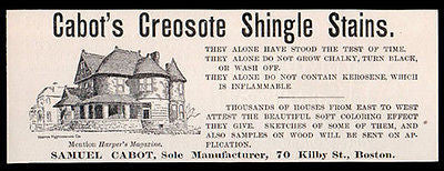 Cabot's Creosote Shingle Stains 1889 Small AD Boston Architecture - Paperink Graphics