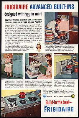 PINK OVEN Built In Aqua Cooktop 1959 AD Frigidaire Mid Century Modern