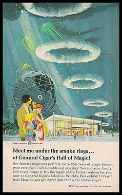 Cigar NYWF Hall of Magic General Cigar Ad 1964-65 Globe Smoke Rings Graphic Art