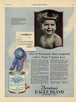 Bordens 1922 AD Eagle Brand Condensed Milk Iowa Model Baby Virginia Lou Innes - Paperink Graphics