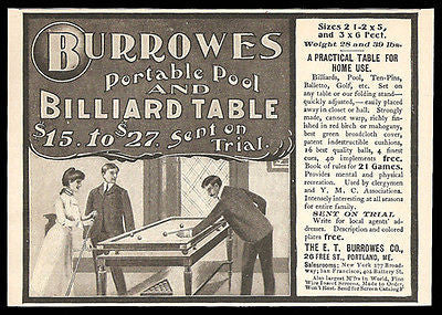 Billiard Ad 1901 Pool Burrows Portable Table Lady Plays Chalks Cue