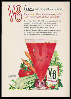V-8 Sparkle in its Eye Smile Glass 1959 Kitchen Art Ad