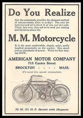 Motorcycle AD 1909 American Motor Co Brockton Mass M M Motorcycle 3.5 HP Special