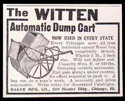 Garden Dump Cart 1911 Witten Automatic 2 Wheel AD