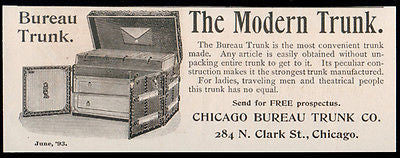 Trunks 1893 Travel Theatre Trunk Chicago Bureau Trunk Co. Travelling Antique AD - Paperink Graphics