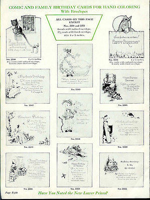 1932 Antique Ad Greeting Cards Merchant Retail Sales Animal Art