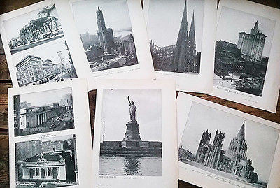 1922 New York City Paper Pages 7 pcs Mixed Media Art Found Supplies - Paperink Graphics