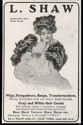 Wigs Hair Dyes Fashion 1905 AD Shaw Hair Store NYC
