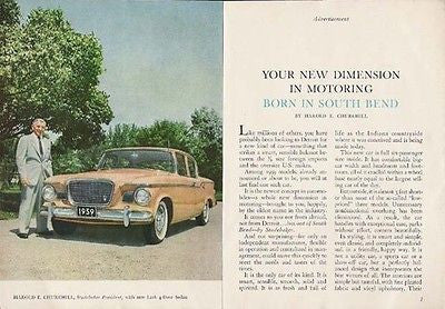 Studebaker Lark 4 dr Sedan 2 pg 1958 Photo AD