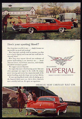 Chrysler Red Fins Imperial 1960 Photo Car Ad 4 Door Le Baron Southhampton - Paperink Graphics