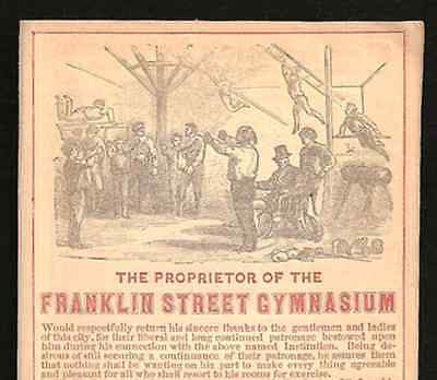 Franklin Street Gymnasium Boston MA 1853 Small Antique Sports Ad - Paperink Graphics