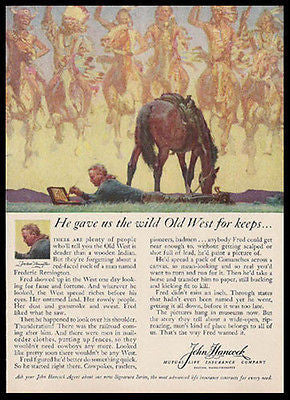 Frederic Remington Paints 1959 Western Art Hancock Ad - Paperink Graphics