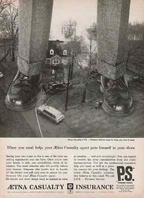 1964 Aetna Casualty Fire Insurance Ad Exaggeration Huge Shoes Legs - Paperink Graphics