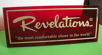 Vintage Shoe Store Sign Revelations Ruby Red Retro Plastic Retail Signage SHOES