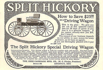 Antique Carriage 1905 AD Split Hickory Driving Wagon American Automobile Advert
